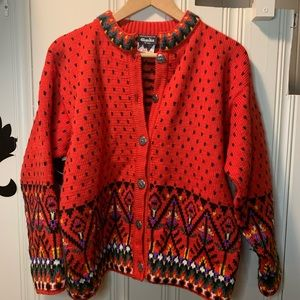 Dale of Norway red fair isle button sweater size M